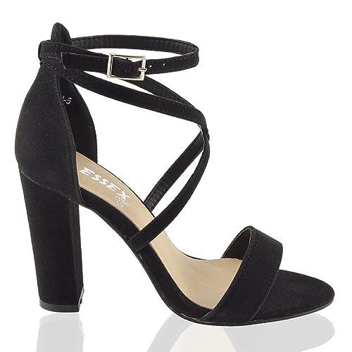 Donna BLOCCO tacchi alti fibbia alla Caviglia sandali con cinturino da party