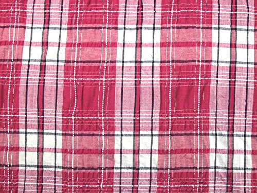 Lurex Check - Minerva Crafts Lurex Plaid Check Crinkle Polycotton Dress Fabric Cerise Pink - per metre