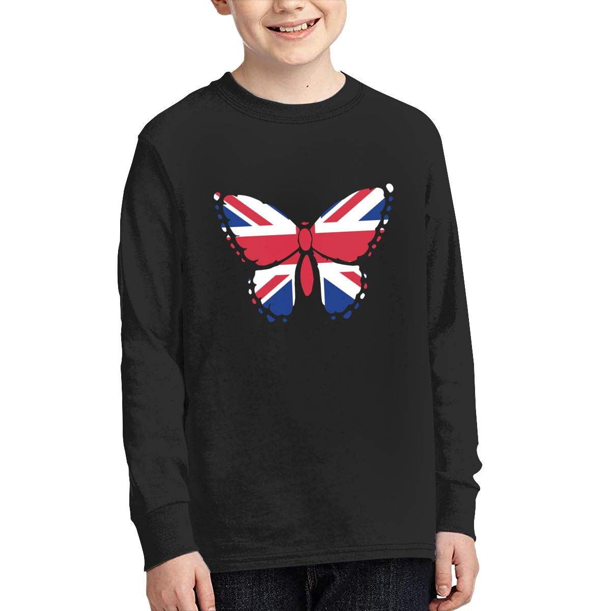 Teenagers Teen Girl British Flag Butterfly Printed Long Sleeve 100/% Cotton T Shirts