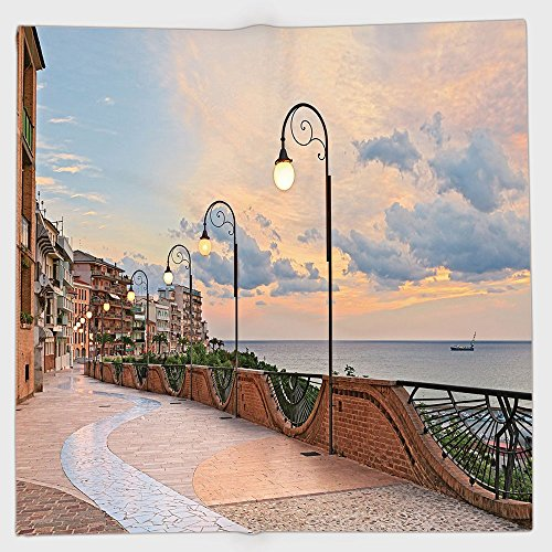 Cotton Microfiber Hand Towel,Italian Decor,Dawn at Ortona Abruzzo Italy Terrace View on the Adriatic Sea,Light Caramel and White,for Kids, Teens, and Adults,One Side ()