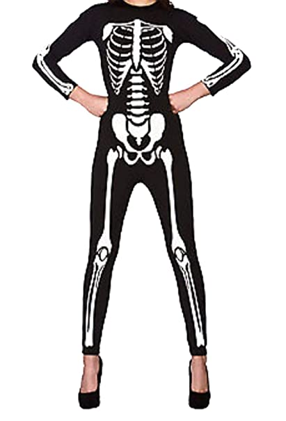 Islander Fashions Womens manica lunga scheletro stampato tuta donna  Halloween Party Playsuit S   3XL  Amazon.it  Abbigliamento 3bf63a729c5d