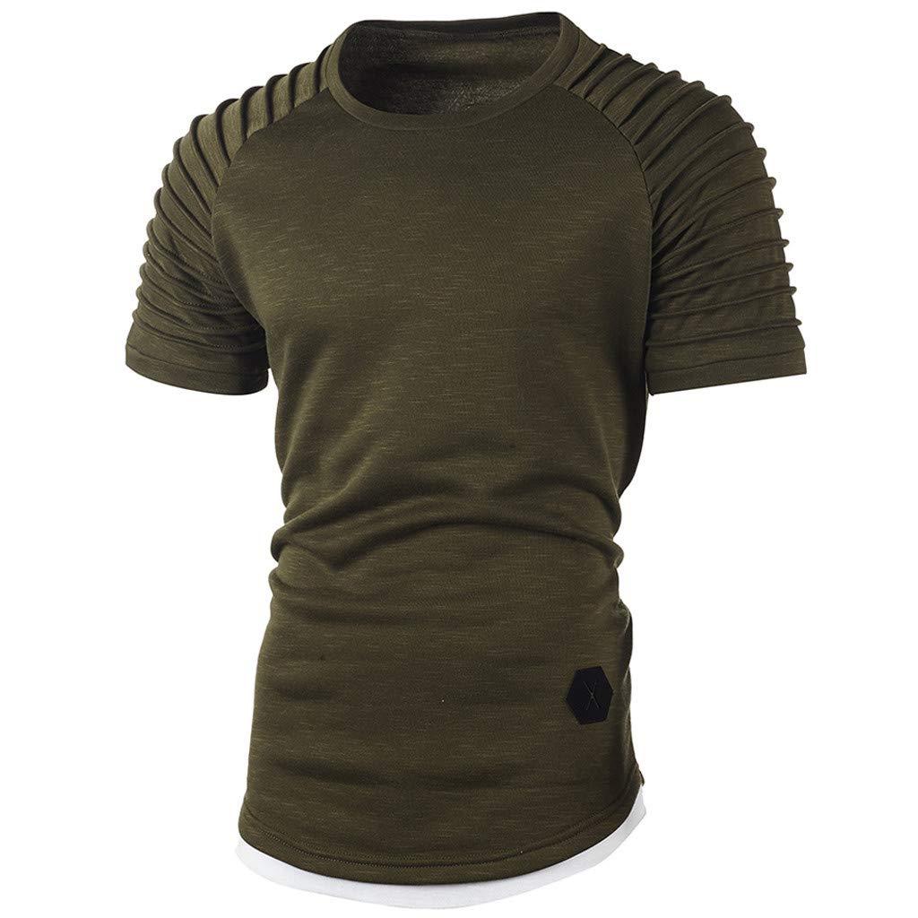 Fashion Men's Comfort Soft Short Sleeve T-Shirt, ANKOLA Summer Pleated Slim Fit O Neck Raglan Tops Blouse Army Green by ANKOLA STORE (Image #4)