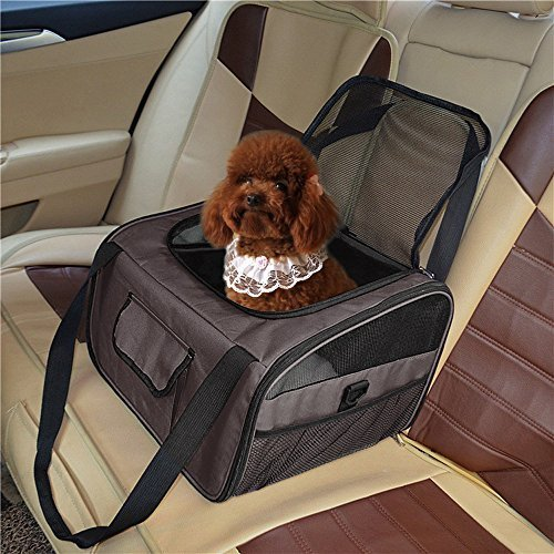 Dog Booster Car Seat Carrier Pets Carrier, Lookout Booster Seat, Portable Fordable Cat Puppy Dog Booster Seat Travel Bag Cage Kennel (Brown)