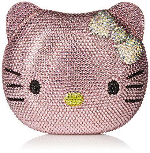Couture Clutch - 3-D Hello Kitty Cat Crystal Couture Clutch Special Occasion Holiday Party Evening Bag Pink