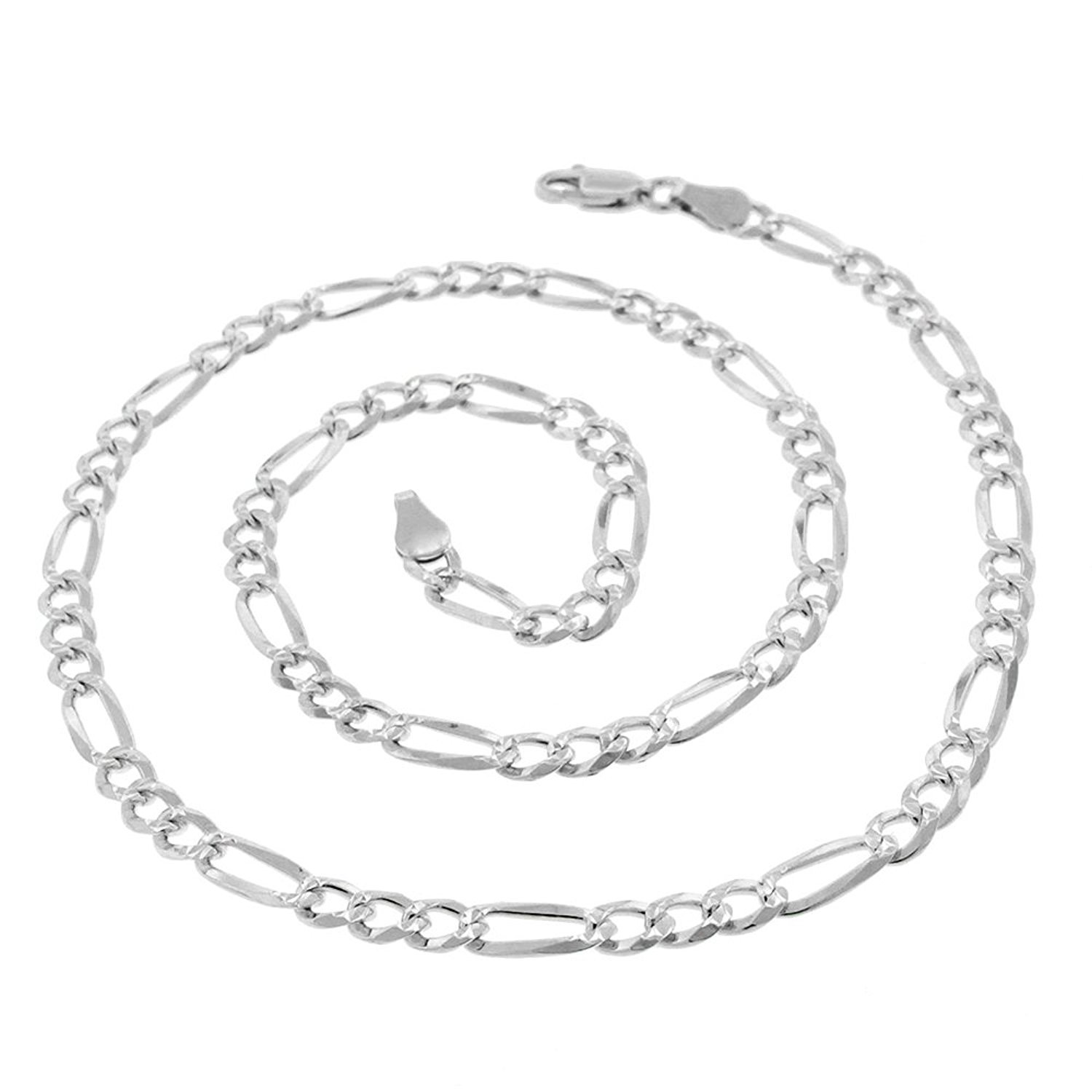 Sterling Silver Italian 4mm Figaro Link Diamond-Cut ITProLux Solid 925 Necklace Chain 16'' - 30'' (20) by In Style Designz (Image #1)