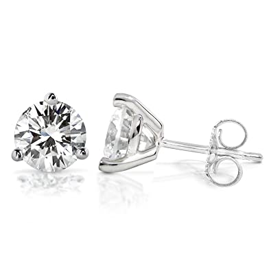 5564faad5 Forever One DEF 2 CTW Round Moissanite Stud Earrings in 14K White Gold  (6.5mm