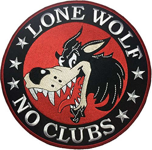 No Sew Indian Costume (The lone wolf no clubs size3inch. biker heavy metal Horror Goth Punk Emo Rock DIY Logo Jacket Vest shirt hat blanket backpack T shirt Patches Embroidered Appliques Symbol Badge Cloth Sign Costume Gift)