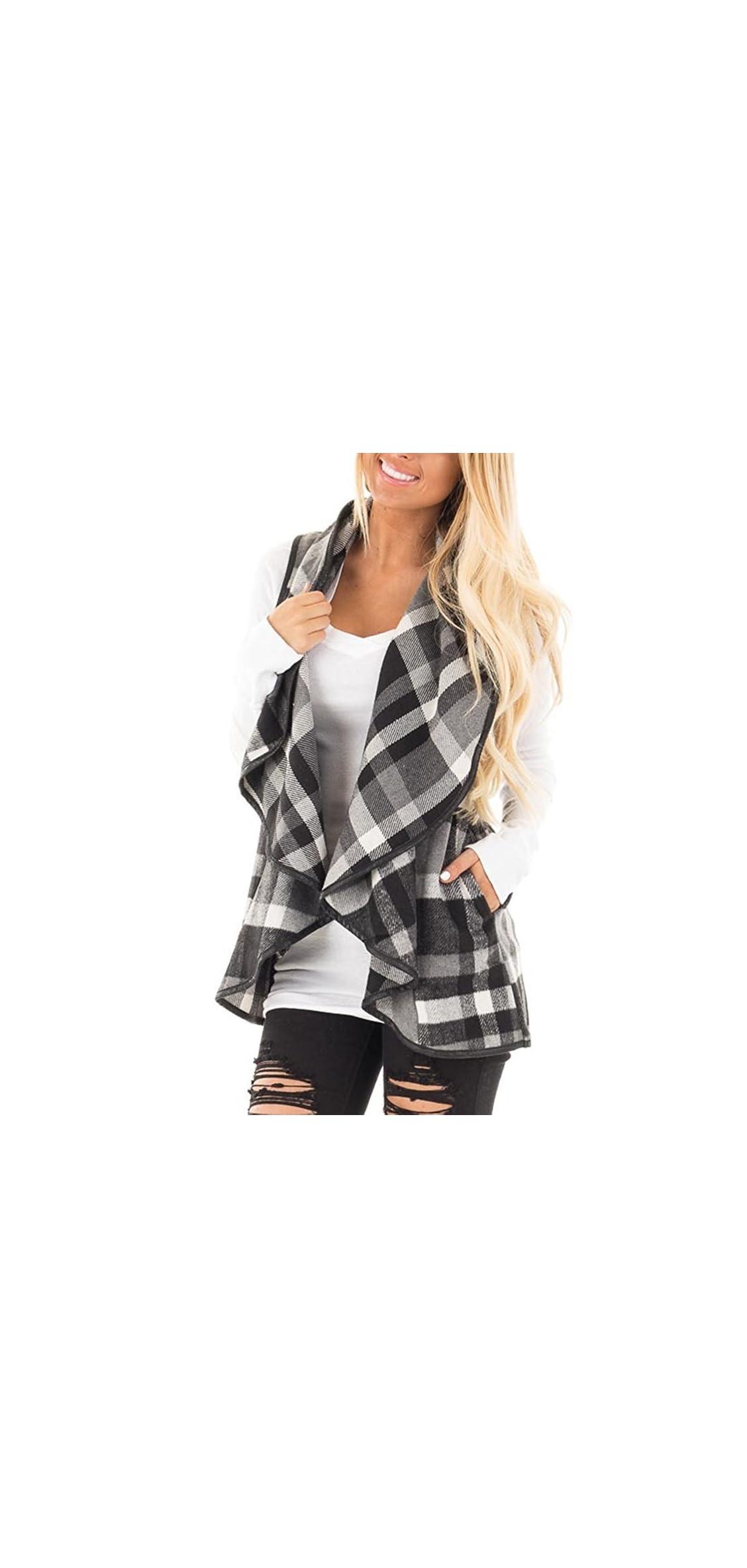 Womens Vest Plaid Sleeveless Lapel Open Front Cardigan