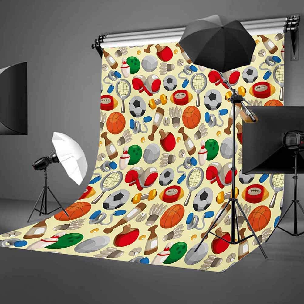 Sport 6x8 FT Photo Backdrops,Cartoon Drawing Style Sporting Goods Balls Bowling Tennis Ping Pong Boxing Football Background for Baby Shower Birthday Wedding Bridal Shower Party Decoration Photo Studio