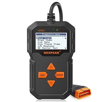 Amazon.com: NEXPEAK NX301 Escáner OBD2 mejorado universal ...