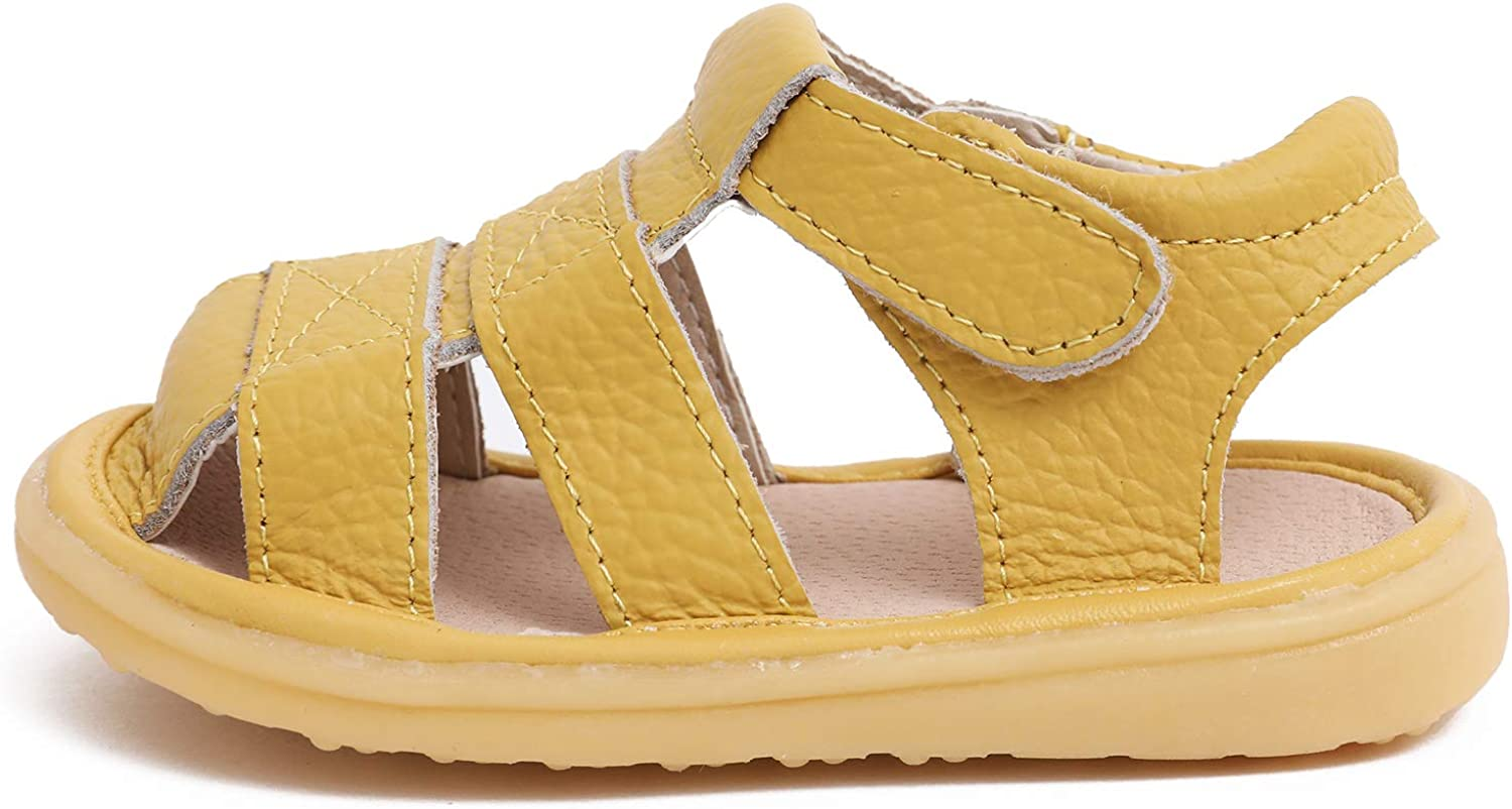 Neband Baby Leather Sandals Closed Toe Summer Outdoor Casual Sandals for Toddler Boys Girls