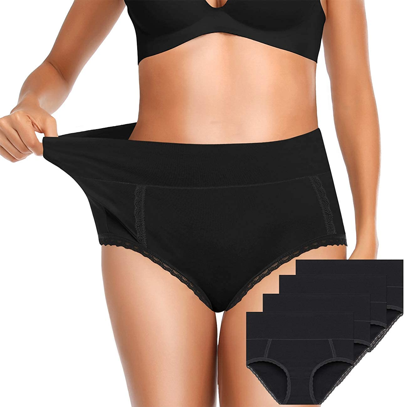 OLIKEME Underwear for Women High Waist Full Coverage Breathable Ladies Briefs Panties