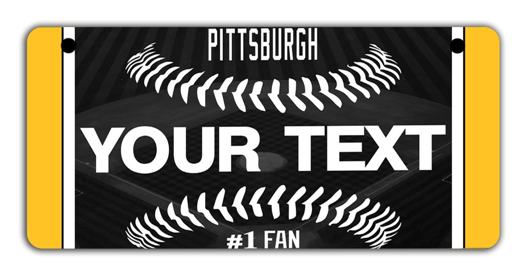 BRGiftShop Personalize Your Own Baseball Team Pittsburgh Bicycle Bike Stroller Childrens Toy Car 3x6 License Plate Tag