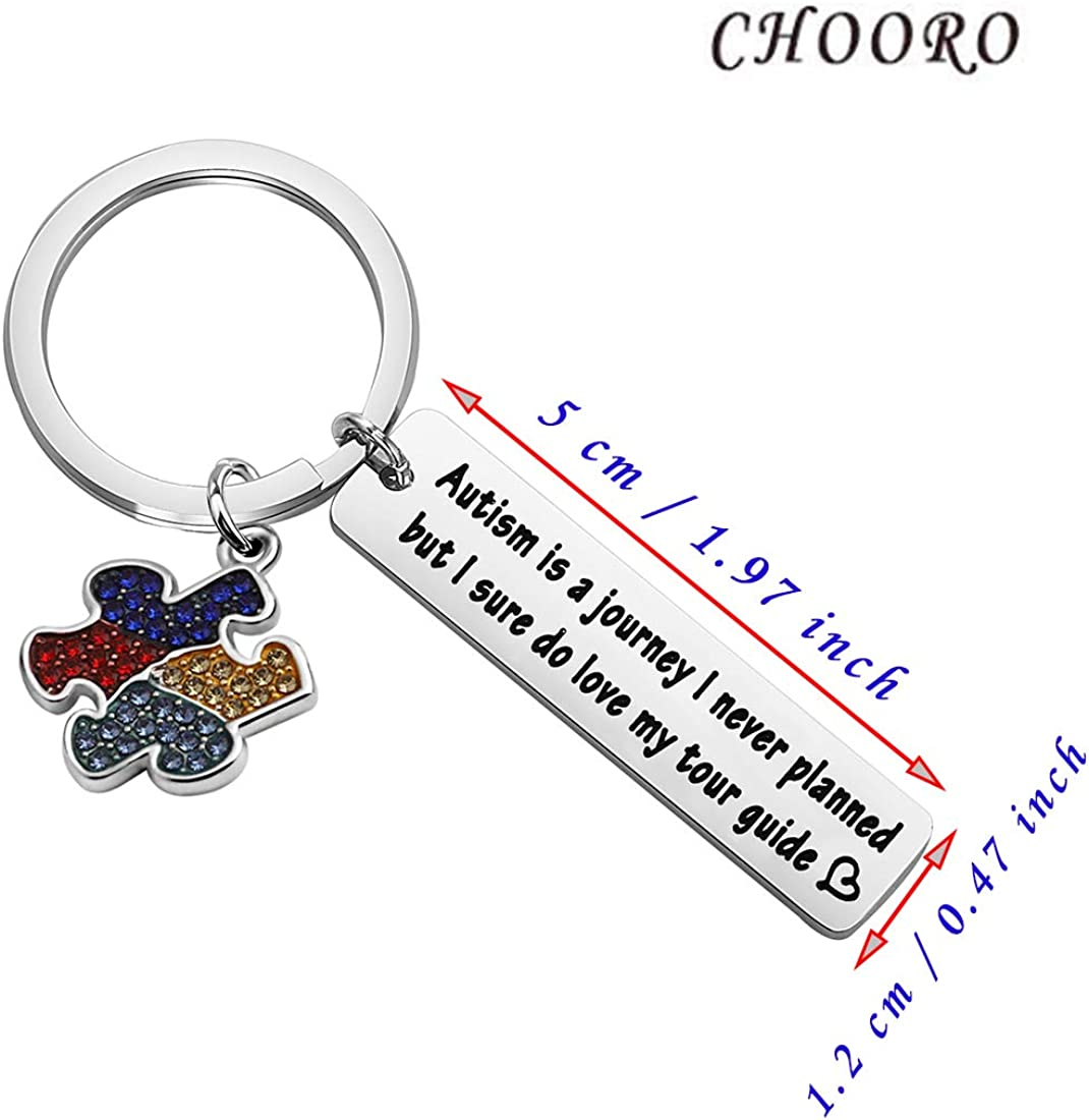 CHOORO Autism Awareness Gift Autism Moms Gift Autism is A Journey I Never Planned Keycahin Autism Support Autistic Pride Jewelry
