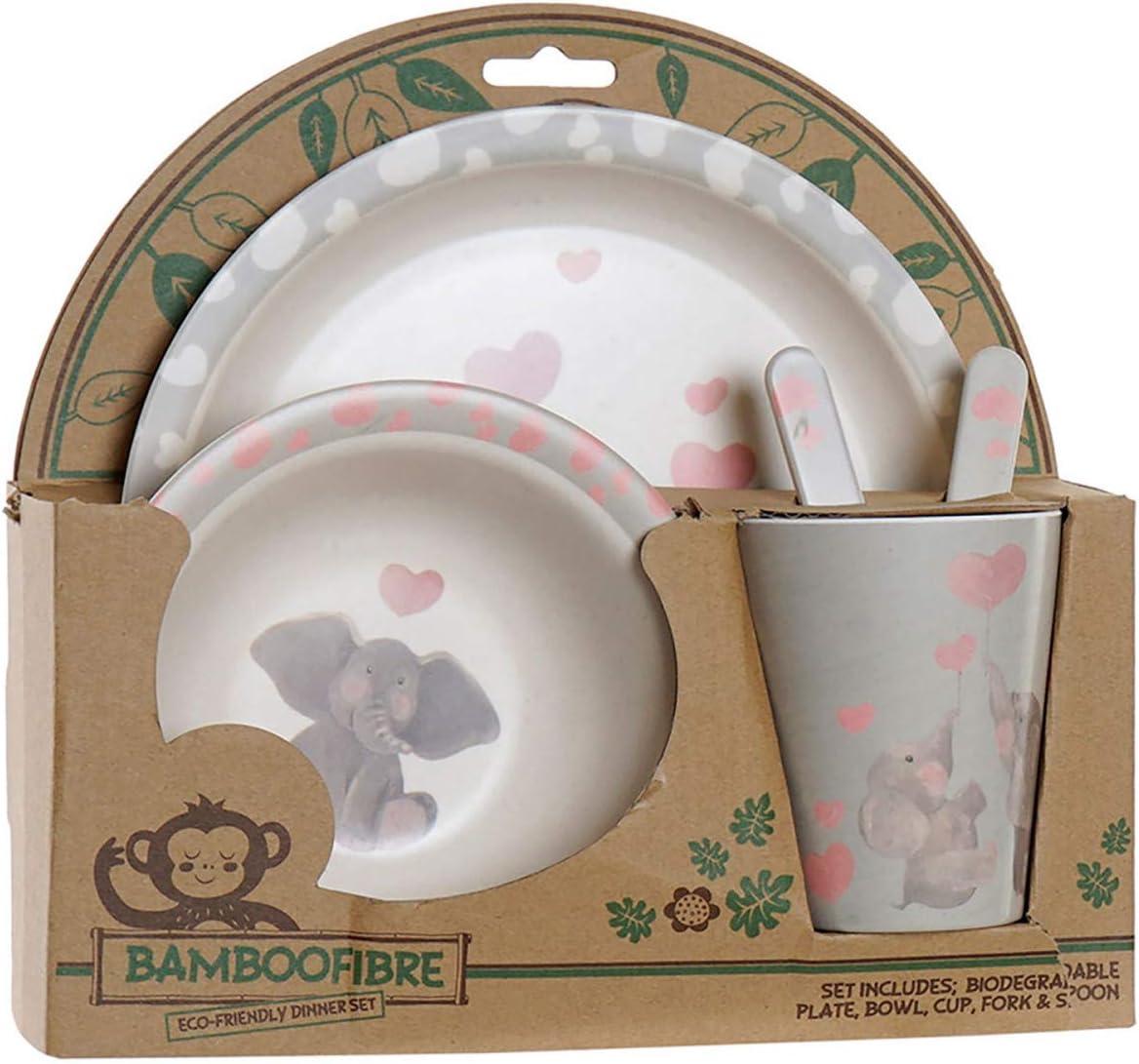 con Dise/ño de Elefante A Hogar y Mas Vajilla Infantil de Bamb/ú Set de 5 Productos 25x9,5x24 cm