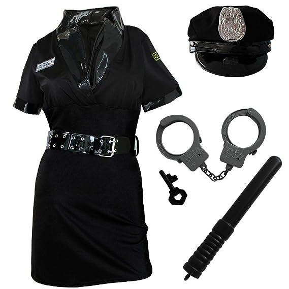 CHICTRY CJ-Policière déguisement-Sexy-Lingerie-érotique Uniforme Ensemble  Cosplay Brillant (Chapeau+Robe+Ceintures+Menottes-en-Fourrure+Brassard  Police) ... 296f897a22e