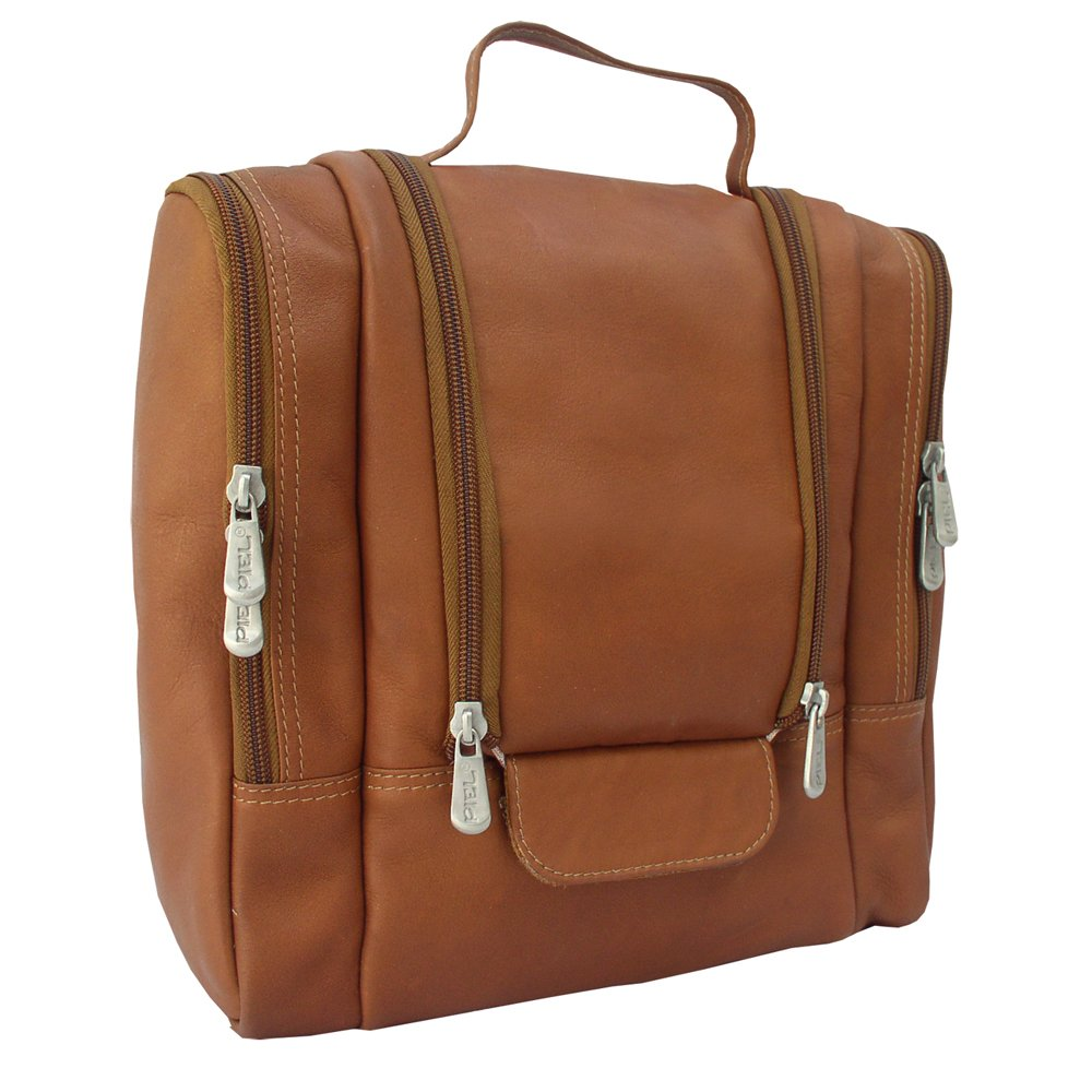 Piel Custom Personalized Leather Hanging Toiletry Kit in Saddle Piel Leather CSTM-PL2460