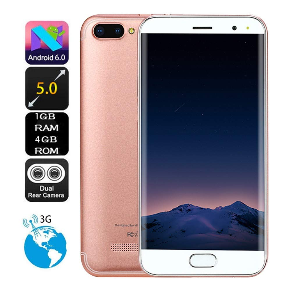 Gallity P113 Phone 5.0 inch Dual HD Camera Android 6.0 1G+4G GPS 3G Call Mobile Phone (Rose Gold)