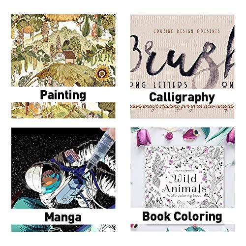 Microwear Pennarelli Acquerello Brush Pens Set da 20 colori +1 Acquerelli Pennelli+6 Modelli di Pittura,Con pennino morbido e flessibile,Ideale per Lettering,Disegno a Colori,Calligrafia