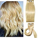 Myfashionhair Clip in Hair Extensions Human Hair Blonde 18 inches 70g Clip on for Fine Hair Full Head 7 pieces Silky Straight Weft Remy Hair (18 inches, #613)