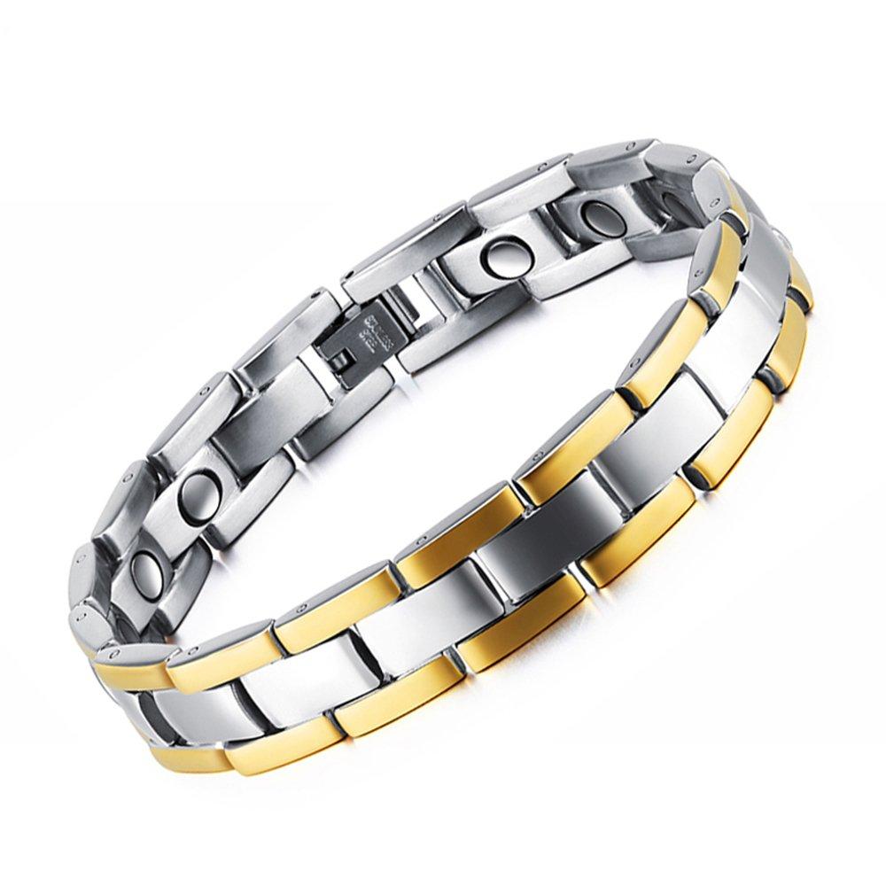 Epoch World Aimanté Bracelet en Titane, Bracelet magnétique en Acier Inoxydable Homme - Aimants, 3000 Gauss chacun.