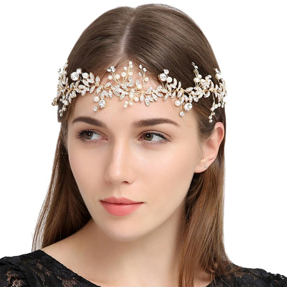 Ztl Vintage Beaded 1920s Gatsby Flapper Feather Headband Wedding Headpieces for Women