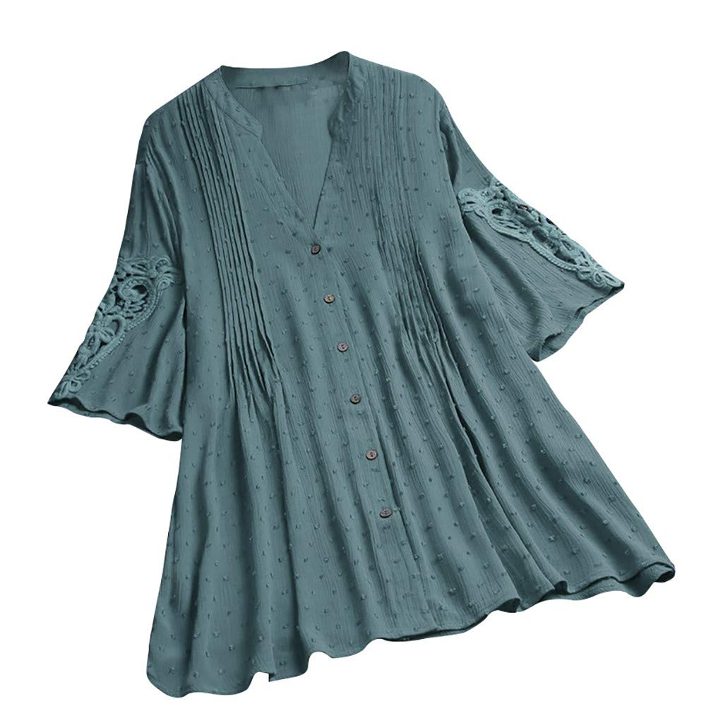 Aniywn Women's Loose Cotton Linen Plus Size Pullover T-Shirt Ladies Vintage V-Neck Short Sleeve Flowy Tops Green by Aniywn