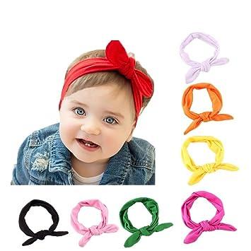 Enuo 8pcs Bebé Cordón Vanda Turbante Arco para el Cabello con las Oídos de Conejo para las Niños, Banda Elástica de Cabello: Amazon.es: Bebé