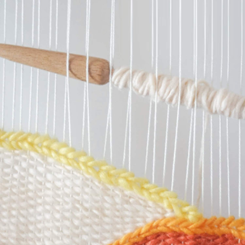 Gosear 2PCS Single Head Beech Wood Weaving Stick Needle Rod for Sweater Scarf Tapestry Adults Children Beginner DIY Tools