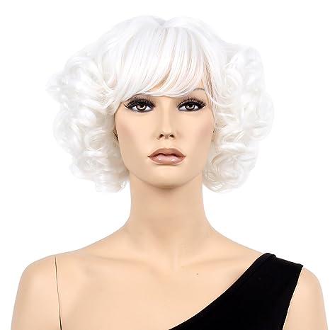 STfantasy Peluca mujer blanca Ondulado Onda rizado Flequillo lolita wig para carnaval halloween fiesta de disfraces