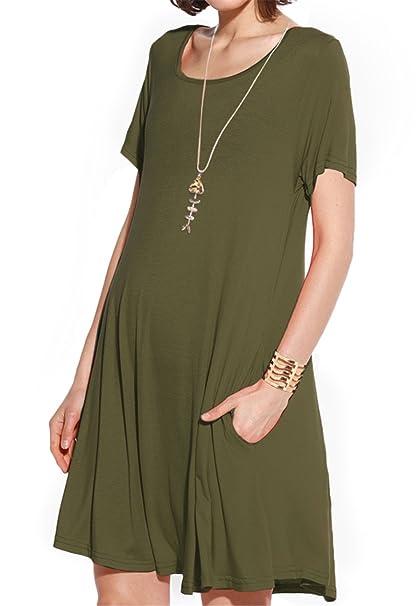 6567184ba378 JollieLovin Women s Pockets Casual Swing Loose T-Shirt Dress (Army Green