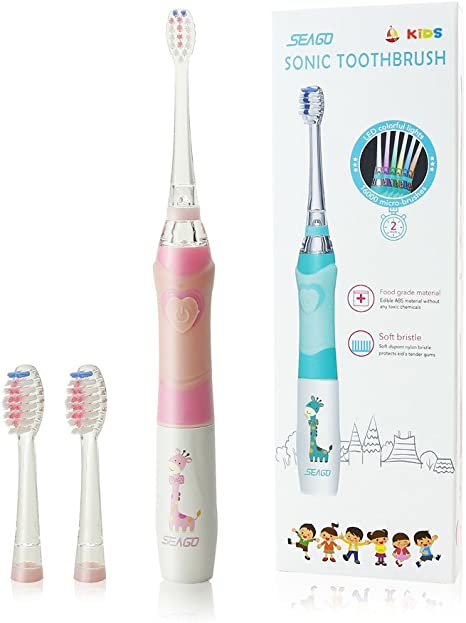 Seago Kids Electric Toothbrush Battery Operated Childrens Sonic Teeth Brushes Fully Washable IPX7 Waterproof with Smart Timer Fun LED Light,3 Brush