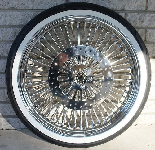 "21 x3.5"" Chrome Mammoth 48 Fat Spokes Front Wheel With WhiteWall Metzeler Tire Package for Harley-Davidson Dual Disc"