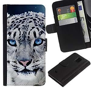 LASTONE PHONE CASE / Lujo Billetera de Cuero Caso del tirón Titular de la tarjeta Flip Carcasa Funda para Samsung Galaxy S5 Mini, SM-G800, NOT S5 REGULAR! / Leopard Cub Puppy Animal Fur Eyes