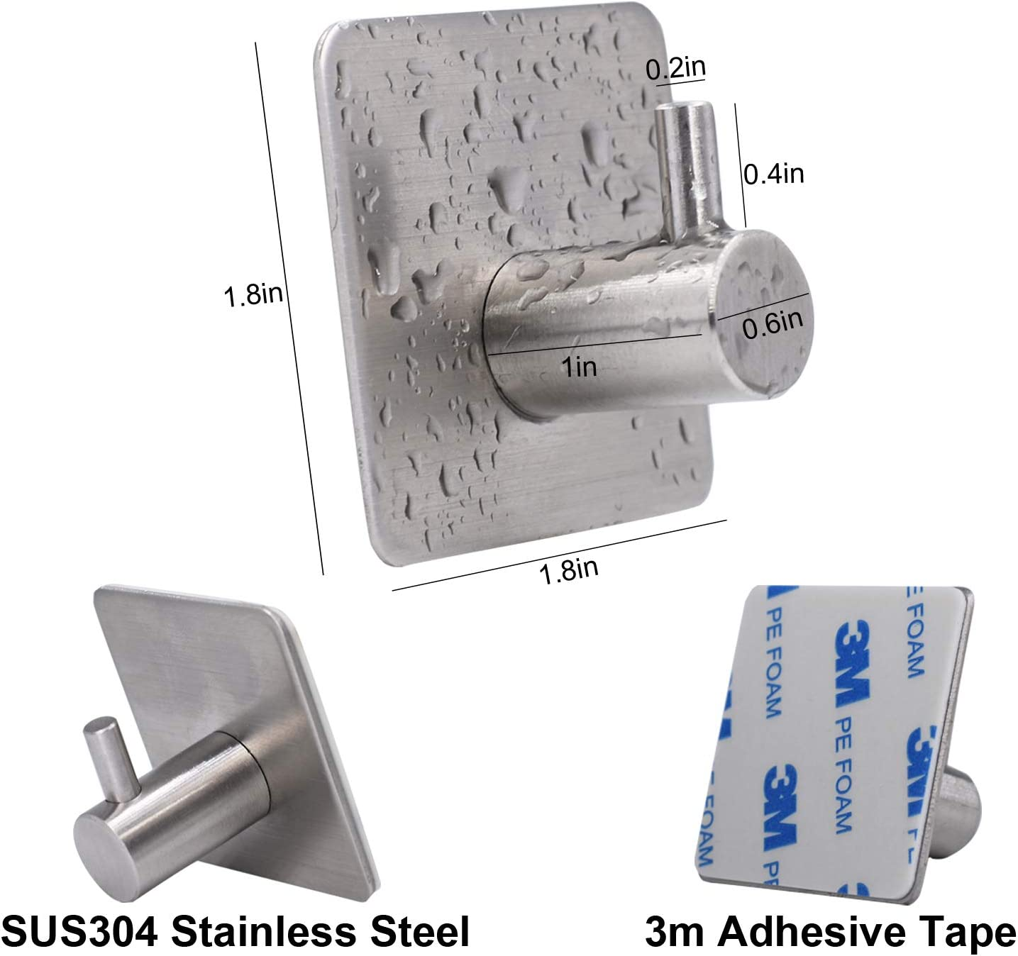 Loogi Adhesive Stainless Steel Towel Hooks