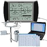 SPEED Profesional inalámbrico WS1080 estación meteorológica Velocidad del viento,La lluvia, la dirección del viento,Estación meteorológica solar,Pantalla táctil USB Software 1073