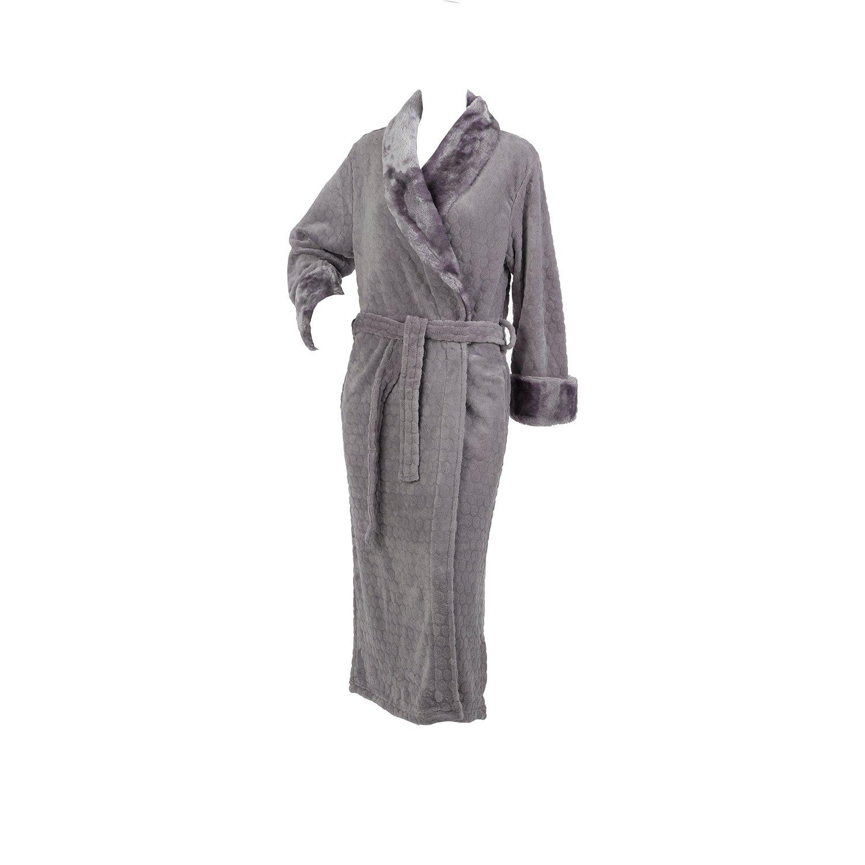 0fb43ff53a Ladies Slenderella Luxurious Textured Fleece Dressing Gown Wrap Around  Silver Grey Medium - UK 12 14  Amazon.co.uk  Clothing