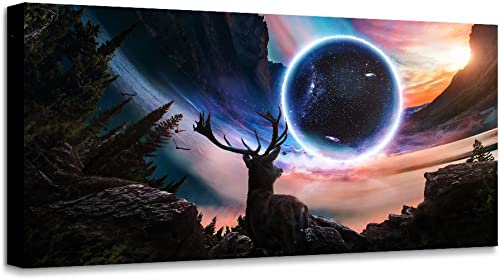 Decor Art Wall Art Deer look moon stars Landscape Picture Canvas Wall Art Print Paintings Modern Artwork