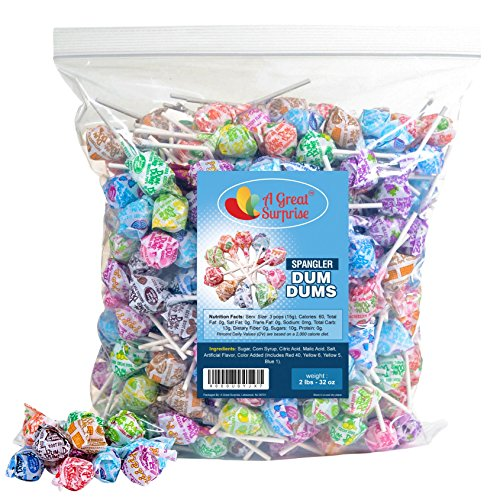 - DUM DUMS Lollipops - Bulk Candy - 2 LB (Approx. 120 pieces) of Assorted Flavor Pops