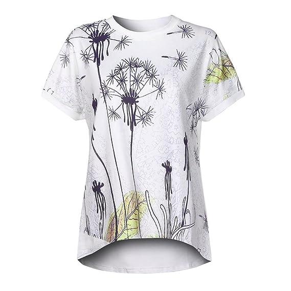 OHQ Camisetas Mujer Camiseta De Manga Corta con Estampado De Diente De LeóN para Mujer Camiseta