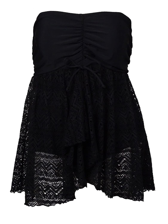 International Concepts Plus Size Crochet-Knit Swimdress Black