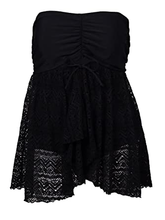 fb919bb4b23 INC International Concepts Women s Plus-Size Crochet Skirted One-Piece  Swimdress at Amazon Women s Clothing store