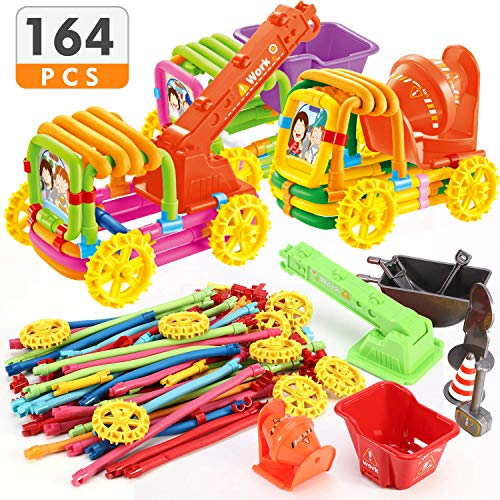 Magicfly 164 Pieces Bendable Building Toys Age 3+ Stem Learning Toys DIY Molding Sticks Toys, Multicolor