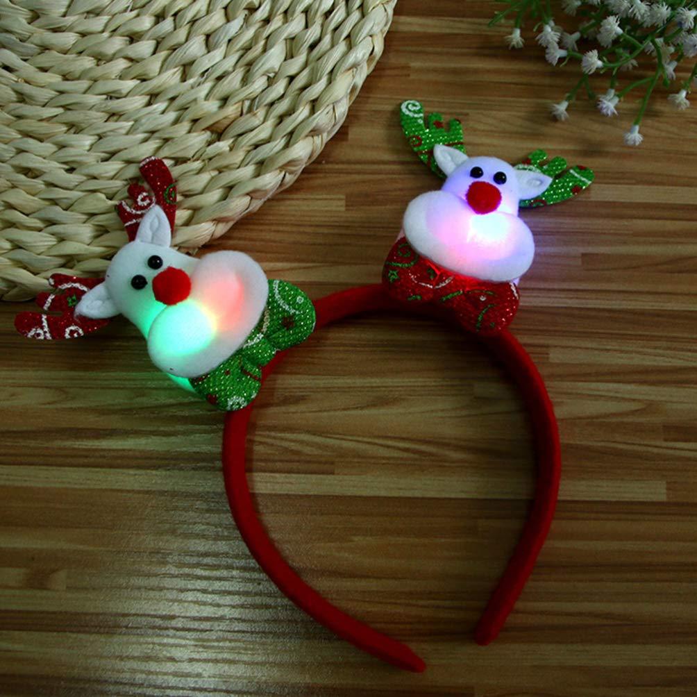 Amosfun 3pcs LED Light Up Christmas Headbands Santa Snowman Reindeer Headbands Head boppers Christmas Party Favors Gifts