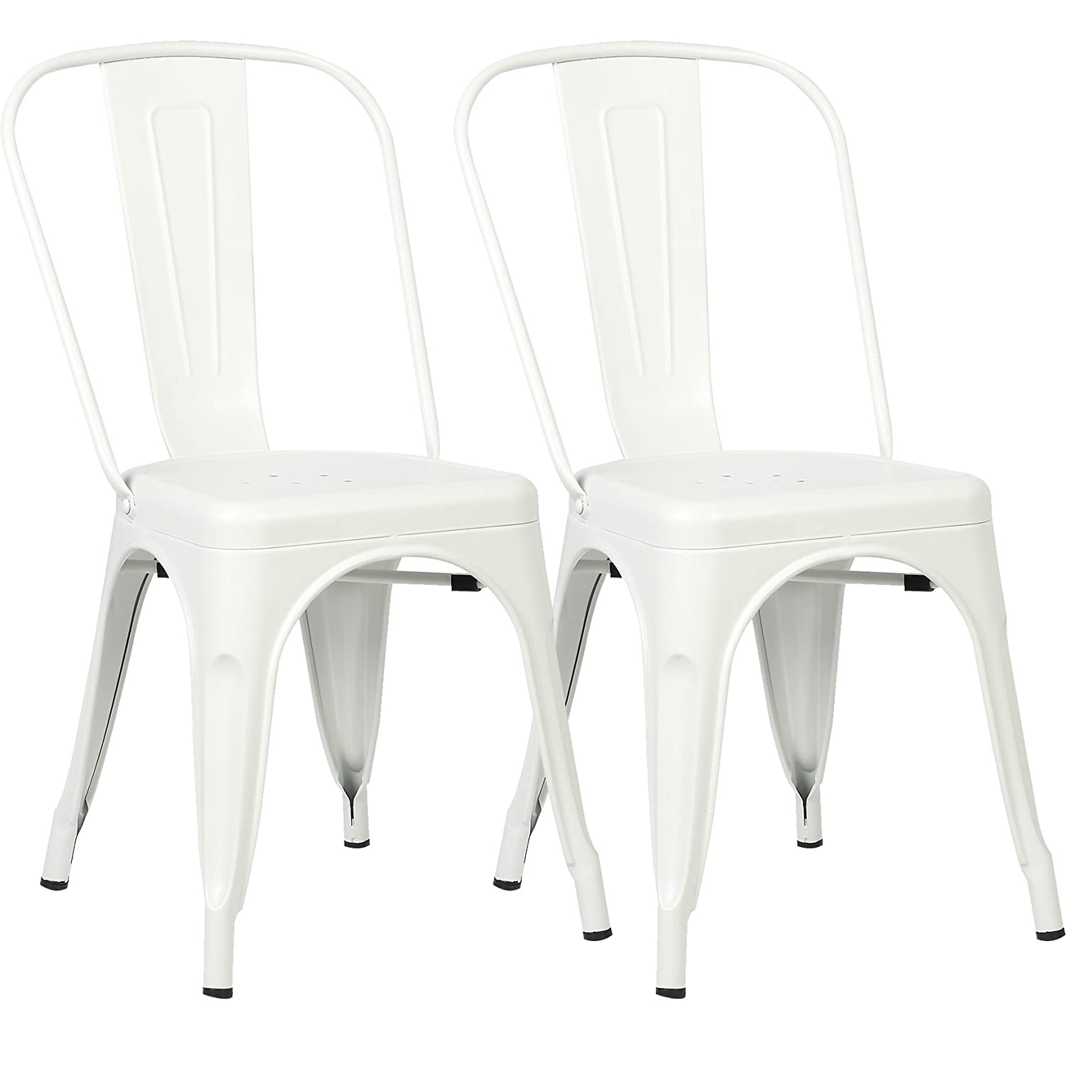 Poly and Bark Trattoria Kitchen and Dining Metal Side Chair in White (Set of 2)