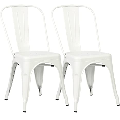 Awe Inspiring Poly And Bark Trattoria Kitchen And Dining Metal Side Chair In White Set Of 2 Bralicious Painted Fabric Chair Ideas Braliciousco