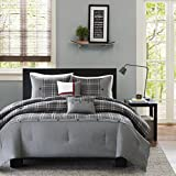 D&H 5 Piece Stone Grey Plaid Comforter Full Queen Set, Gray Lightweight Cabin Themed Bedding Checked Lumberjack Pattern Lodge Southwest Tartan Madras Cottage Hunting, Modern Polyester