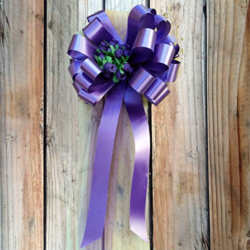 Rose Purple Awareness Ribbon - Purple Wedding Pull Bows with Tulle Tails and Rosebuds - 8