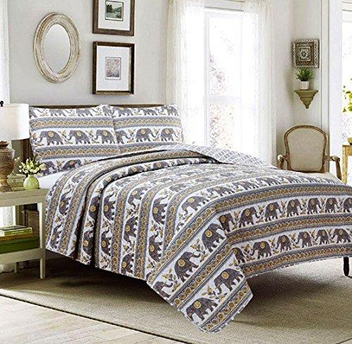 HowPlumb Full 3 Piece Quilt Set Coverlet Bedspread Elephant Boho Mandala Damask Medallion, Yellow and Gray