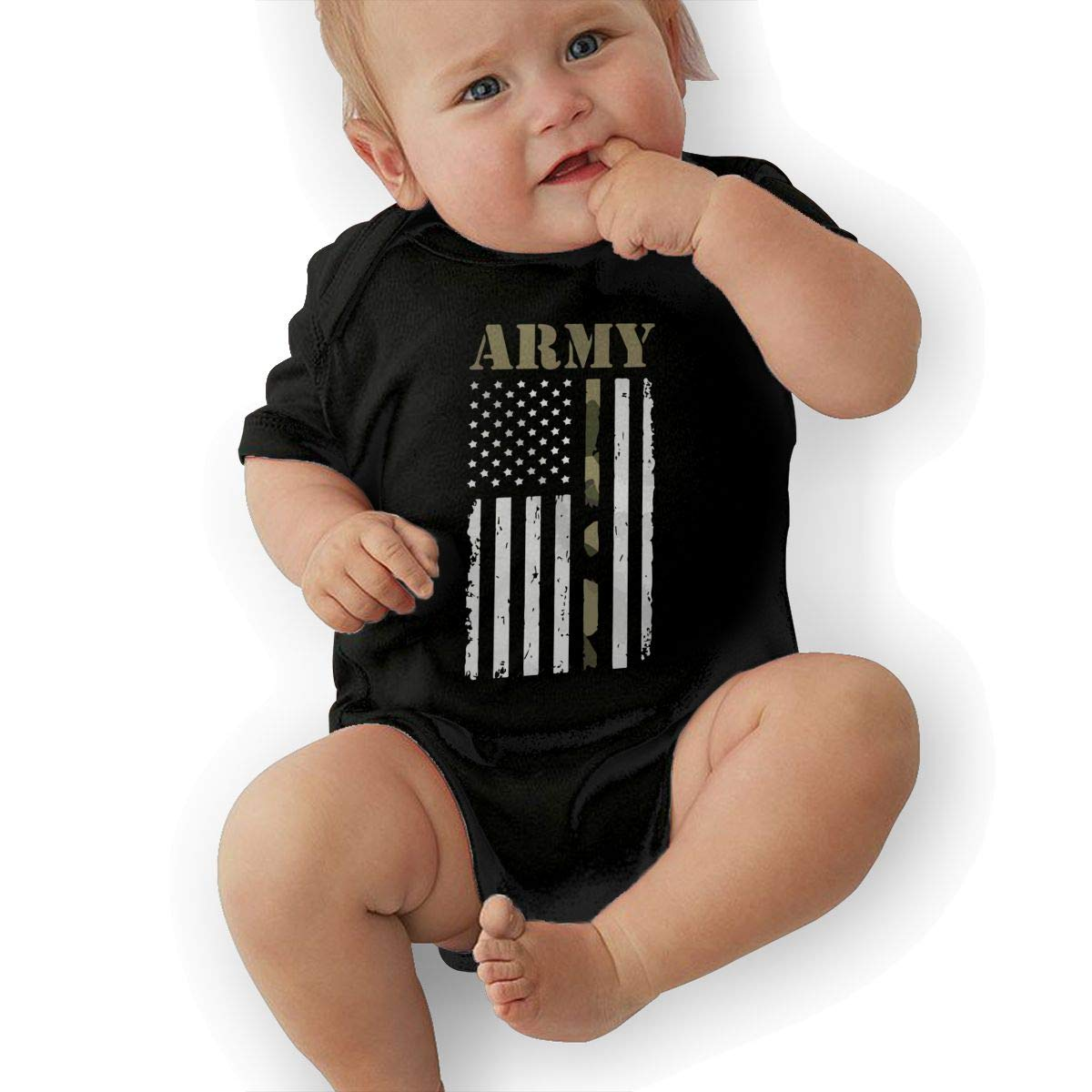 Cute USA Army Flag Crawler U88oi-8 Short Sleeve Cotton Rompers for Baby Girls Boys